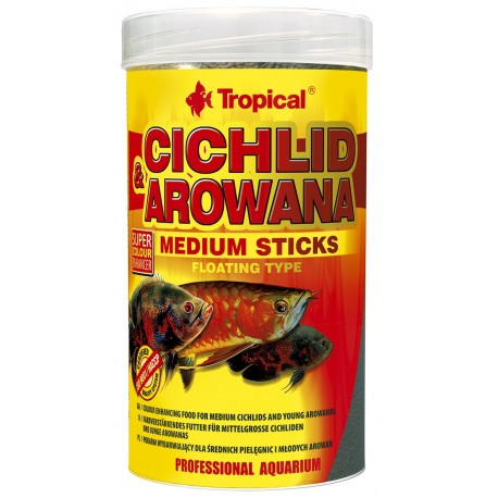 Tropical Cichlid&Arowana Medium Sticks pašaras žuvims 250 ml